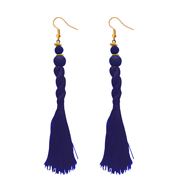 Jeweljunk Blue Beads Thread Earrings