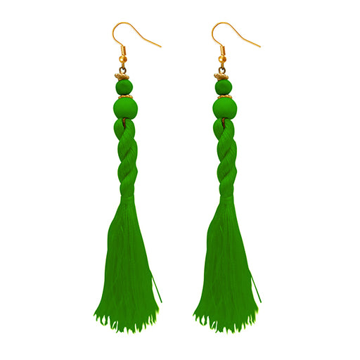 Jeweljunk Green Beads Thread Earrings