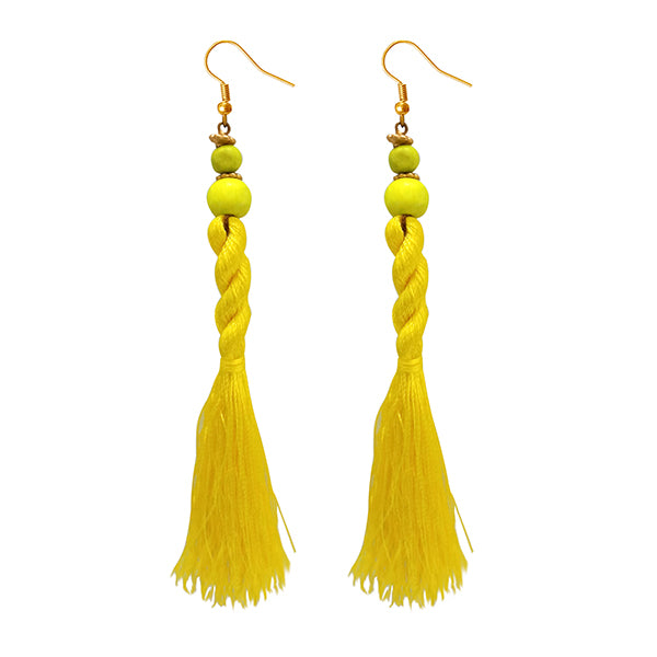 Jeweljunk Yellow Beads Thread Earrings
