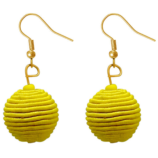 Jeweljunk Yellow Thread Dangler Earrings