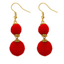 Jeweljunk Red Thread Gold Plated Dangler Earrings