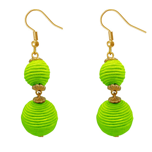 Jeweljunk Green Thread Gold Plated Dangler Earrings