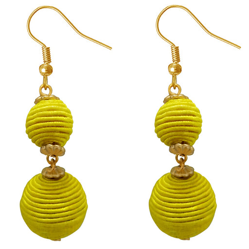 Jeweljunk Yellow Thread Gold Plated Dangler Earrings