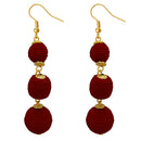 Jeweljunk Maroon Thread Gold Plated Dangler Earrings