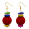 Jeweljunk Gold Plated Red Beads Dangler Earrings