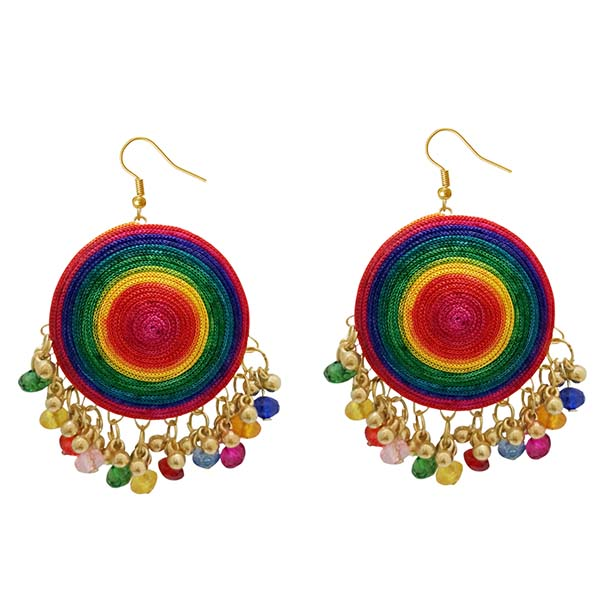 Jeweljunk Multicolor Bead Drop Thread Earrings