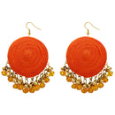 Jeweljunk Orange Bead Drop Thread Earrings