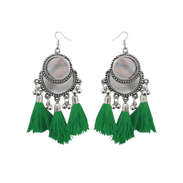 Jeweljunk Rhodium Plated Green Thread Tassel Earrings