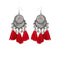 Jeweljunk Red Thread Rhodium Plated Tassel Earrings