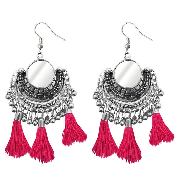 Jeweljunk Pink Thread Afghani Tassel Earrings