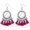 Jeweljunk Pink Thread Rhodium Plated Tassel Earrings