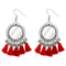 Jeweljunk Rhodium Plated Red Thread Tassel Earrings