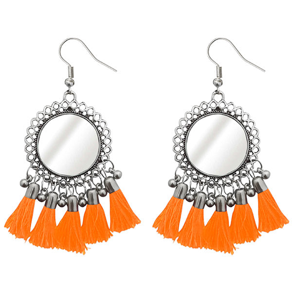 Jeweljunk Rhodium Plated Orange Thread Tassel Earrings