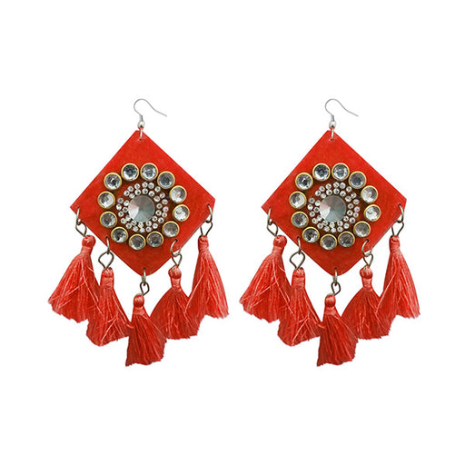 Jeweljunk Orange Thread Austrian Stone Tassel Earrings