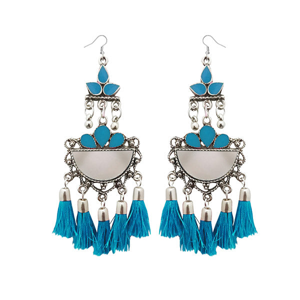 Jeweljunk Blue Thread Meenakari Afghani Tassel Earrings