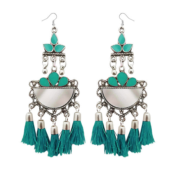 Jeweljunk Thread Meenakari Afghani Tassel Earrings
