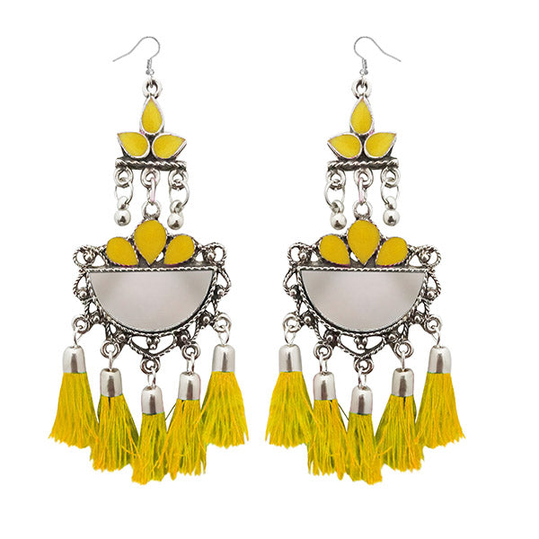 Jeweljunk Yellow Thread Meenakari Afghani Tassel Earrings