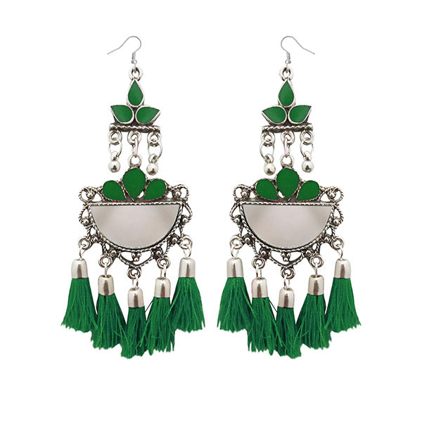 Jeweljunk Green Thread Meenakari Afghani Tassel Earrings
