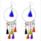 Jeweljunk Multi Thread Rhodium Plated Tassel Earrings