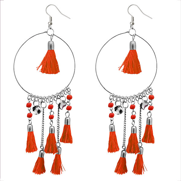 Jeweljunk Orange Thread Rhodium Plated Tassel Earrings