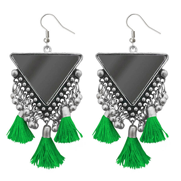 Jeweljunk Green Thread Afghani Tassel Earrings