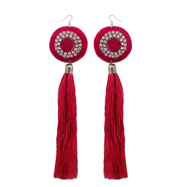 Jeweljunk Austrian Stone Pink Thread Tassel Earrings