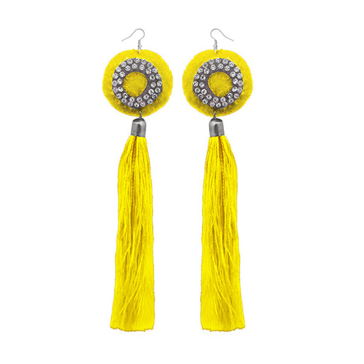 Jeweljunk Austrian Stone Yellow Thread Tassel Earrings