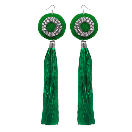 Jeweljunk Green Thread Austrian Stone Tassel Earrings