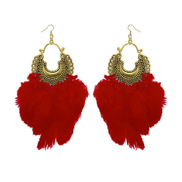 Jeweljunk Antique Gold Plated Afghani Feather Earrings