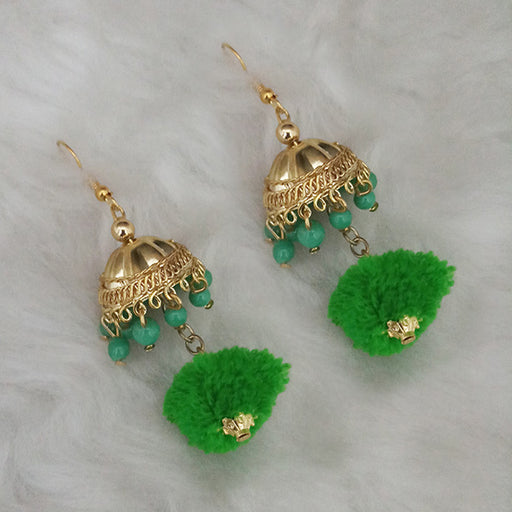 Jeweljunk Gold Plated Jhumki Pompom Earrings