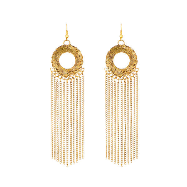 Kriaa Gold Plated Hanging Chain Tassel Earrings