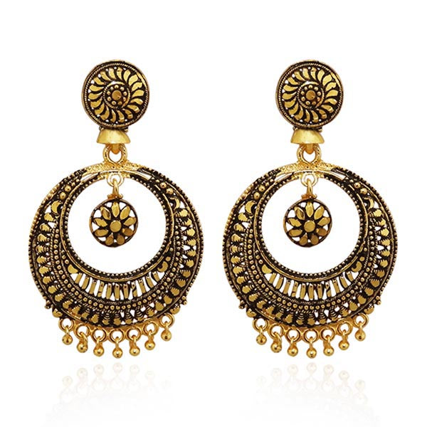 Kriaa Antique Gold Plated Dangler Earrings