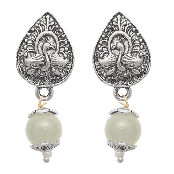 The99jewel Pearl Drop Antique Silver Plated Earrings