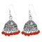 Jeweljunk Red Beads Rhodium Plated Jhumki Earrings