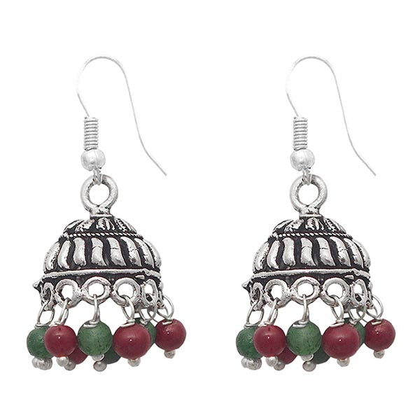 The99jewel Red Antique Silver Plated Jhumki