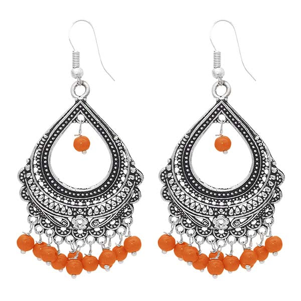 Kriaa Orange Beads Drop Oxidised Dangler Earrings