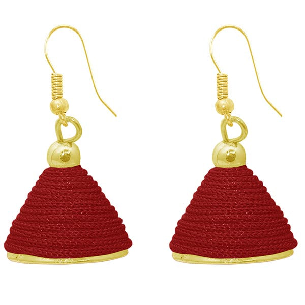 The99jewel Red Gold Plated Thread Jhumki