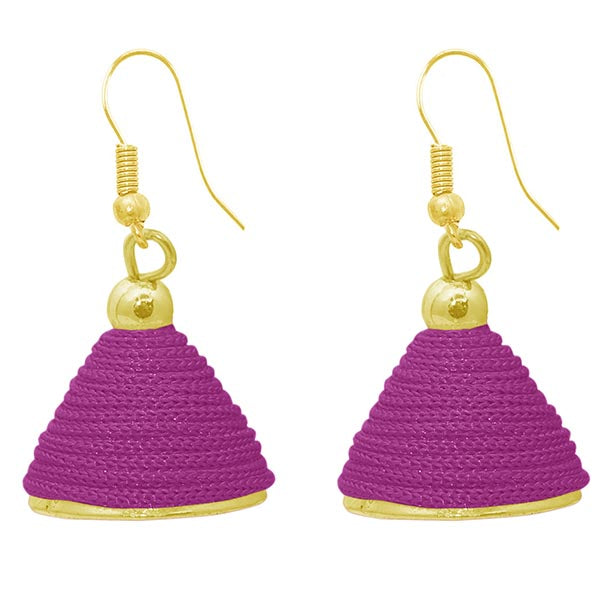 The99jewel Purple Gold Plated Thread Earrings