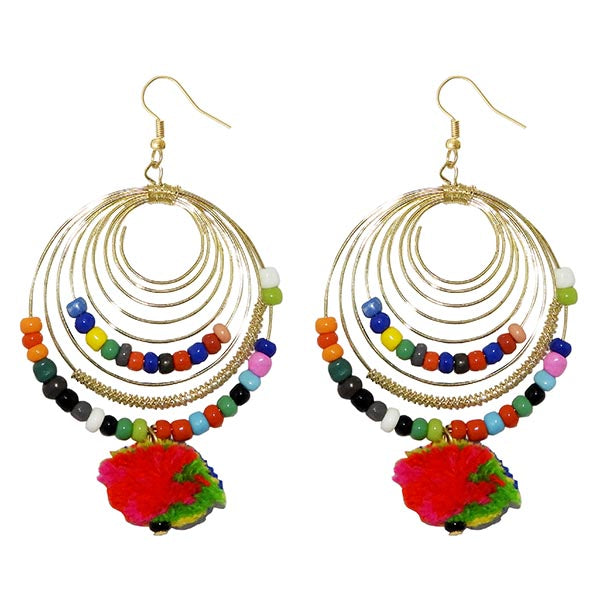 Jeweljunk Gold Plated Multi Beads Dangler Earrings