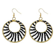 Jeweljunk Black Beads Gold Plated Dangler Earrings