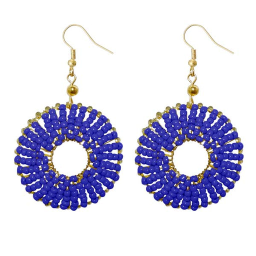 Jeweljunk Gold Plated Blue Beads Dangler Earrings