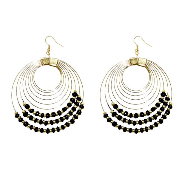 Jeweljunk Gold Plated Black Beads Dangler Earrings