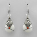 Urthn Rhodium Plated White Beads Dangler Earrings