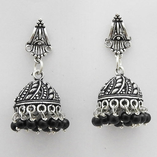 Jeweljunk Black Beads Oxidised Plated Jhumki Earrings