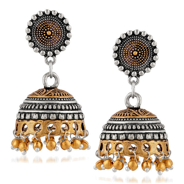 Kriaa 2 Tone Plated Jhumki Earrings