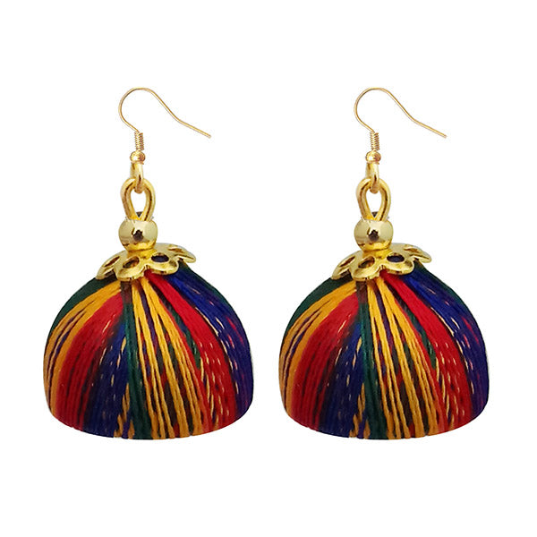 Jeweljunk Gold Plated Multi Color Thread Earrings