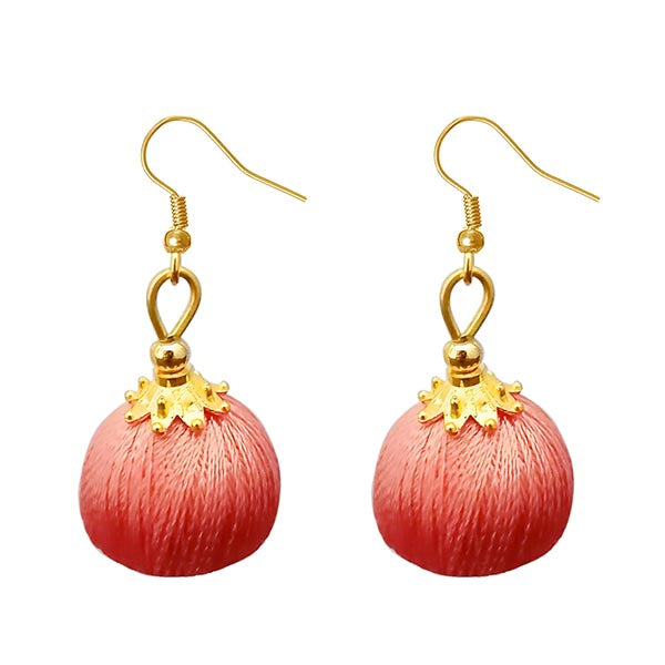 Jeweljunk Pink Thread Gold Plated Thread Earrings