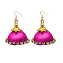 Jeweljunk Austrian Stone Pink Thread Earrings