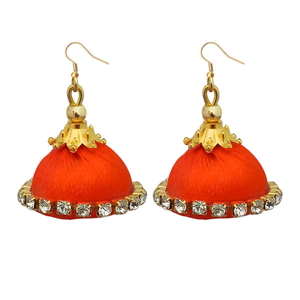 Jeweljunk Austrian Stone Orange Thread Earrings