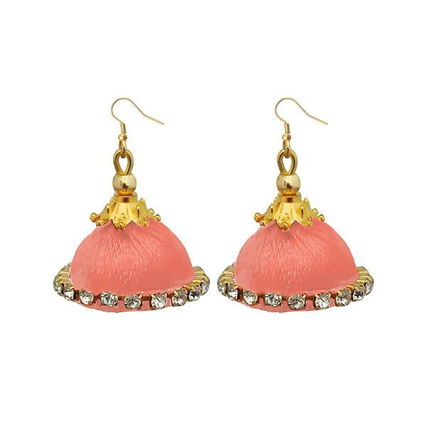 Jeweljunk Austrian Stone Peach Thread Earrings